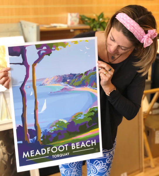 Meadfoot Beach, Torquay - Limited Edition by Becky Bettesworth
