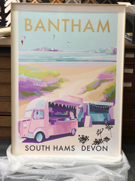 Bantham Buses Limited Edition travel poster and seaside print by Becky Bettesworth