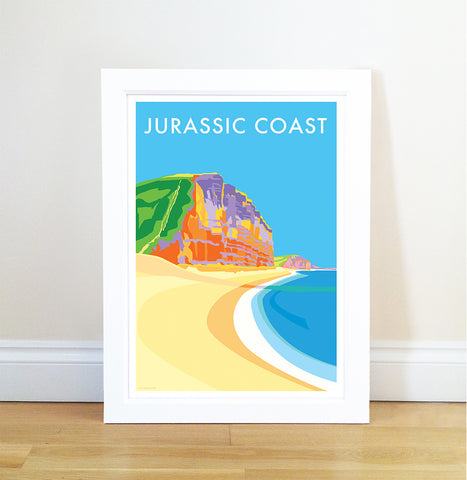 Jurassic Coast travel poster and seaside print by Becky Bettesworth