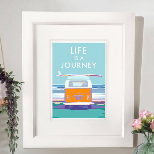 Life is a Journey vintage style retro quote poster by Becky Bettesworth