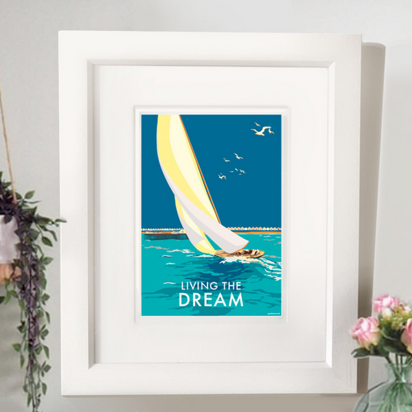 Living the Dream vintage style retro quote poster by Becky Bettesworth