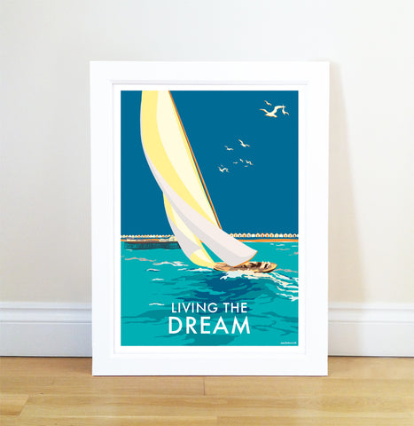 Living the Dream  vintage style, retro quote poster and print by Becky Bettesworth