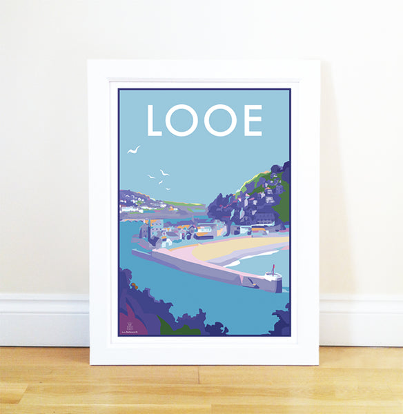 Looe travel poster and seaside print by Becky Bettesworth
