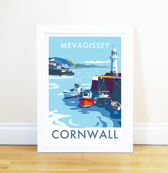 Mevagissey travel poster and seaside print by Becky Bettesworth