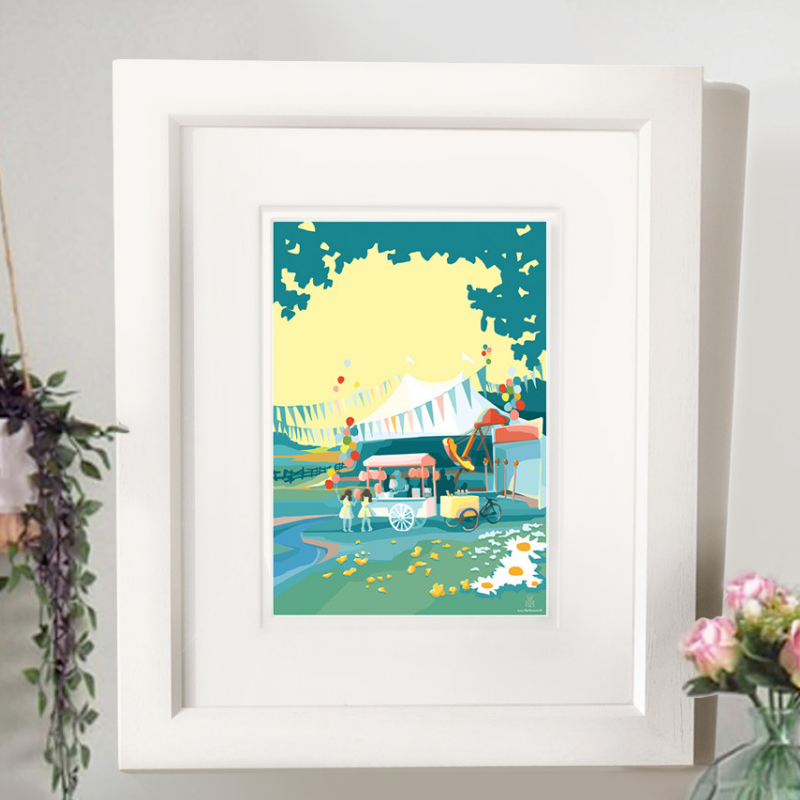Oh To Be In England A4 seaside print by Becky Bettesworth