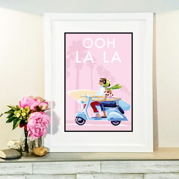 Ooh La La vintage style retro quote poster by Becky Bettesworth