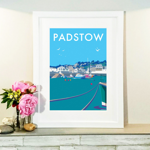 Padstow travel poster and seaside print by Becky Bettesworth