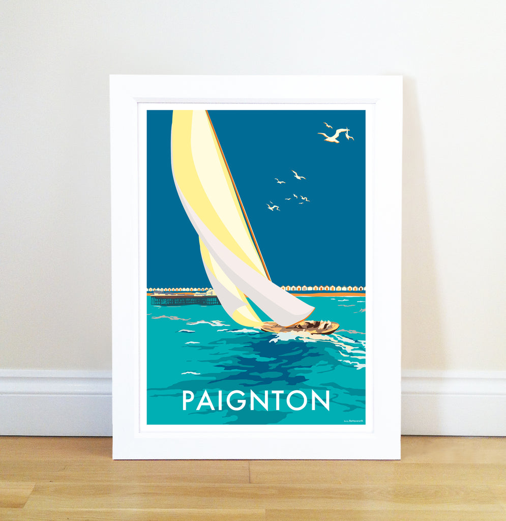 Paignton Sailing Boat travel poster and seaside print by Becky Bettesworth - BeckyBettesworth - 1