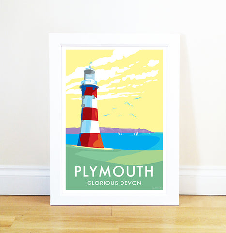 Plymouth travel poster and seaside print by Becky Bettesworth