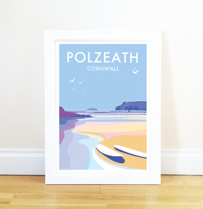 Polzeath travel poster and seaside print by Becky Bettesworth