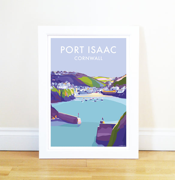 Port Isaac travel poster and seaside print by Becky Bettesworth
