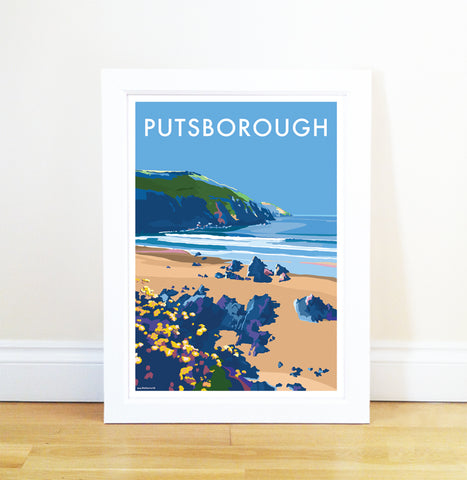 Putsborough travel poster and seaside print by Becky Bettesworth