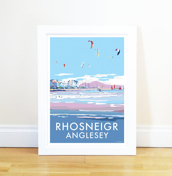 Rhosneigr travel poster and seaside print by Becky Bettesworth