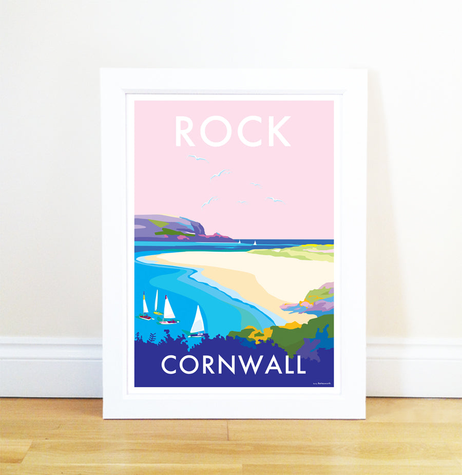 Rock travel poster and seaside print by Becky Bettesworth