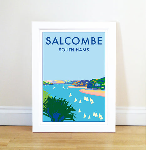 Salcombe travel poster and seaside print by Becky Bettesworth