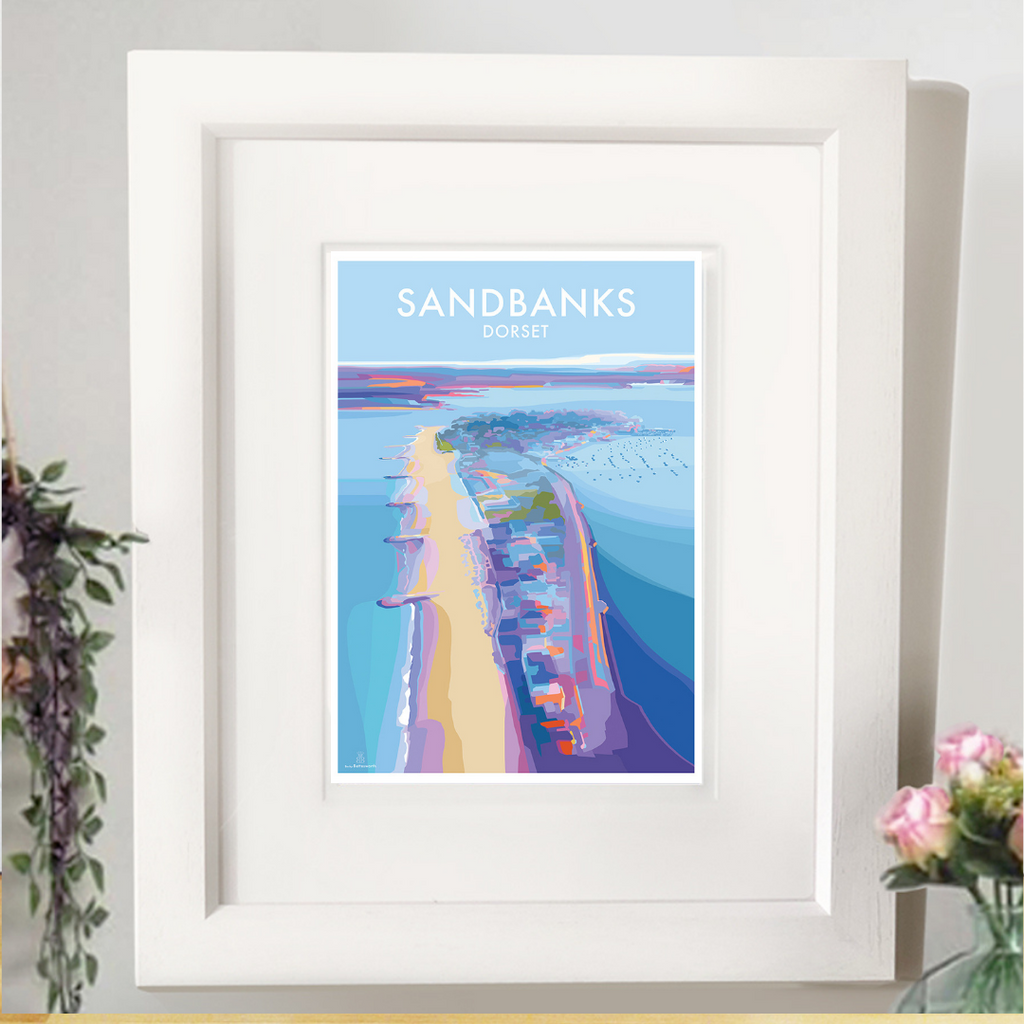 Sandbanks Vintage Style Travel Poster and Seaside print by Becky Bettesworth