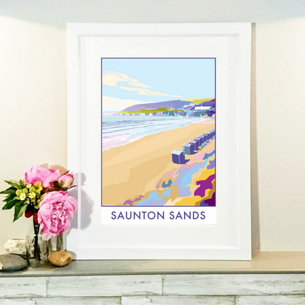 Saunton Sands travel poster and seaside print by Becky Bettesworth