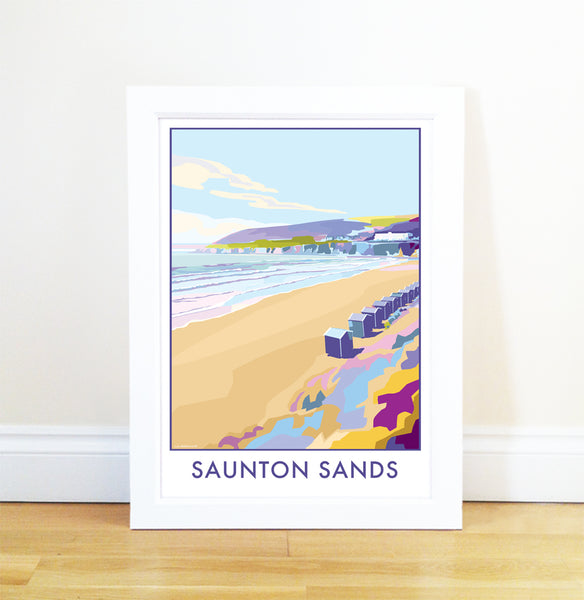 Saunton Sands travel poster and seaside print by Becky Bettesworth - BeckyBettesworth - 1