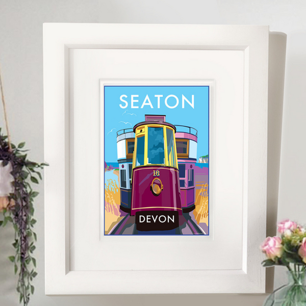 Seaton travel poster and seaside print by Becky Bettesworth