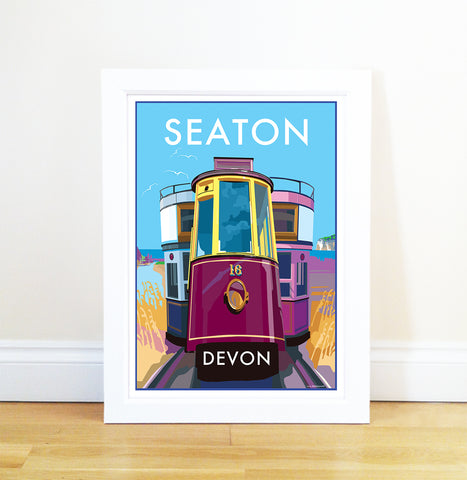 Seaton travel poster and seaside print by Becky Bettesworth - BeckyBettesworth - 1