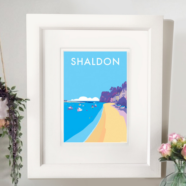 Shaldon travel poster and seaside print by Becky Bettesworth