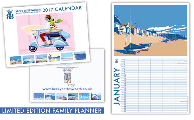 Becky Bettesworth *NEW LIMITED EDITION SIGNED 2017* Family Planner Calendar