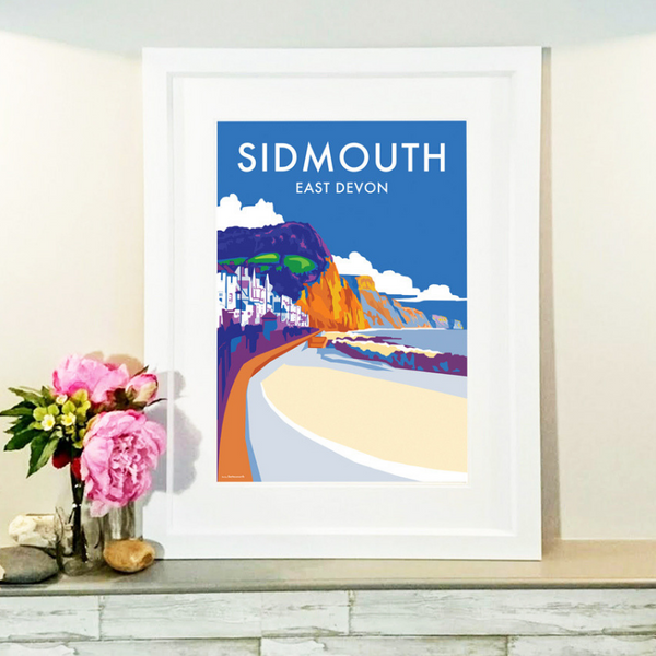 Sidmouth travel poster and seaside print by Becky Bettesworth