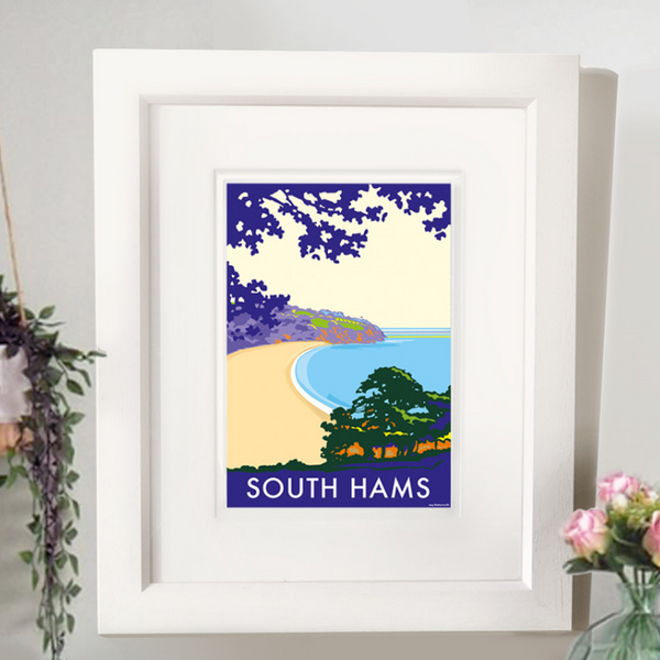 South Hams (Blackpool Sands) travel poster and seaside print by Becky Bettesworth
