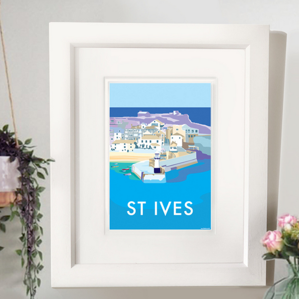 St Ives travel poster and seaside print by Becky Bettesworth