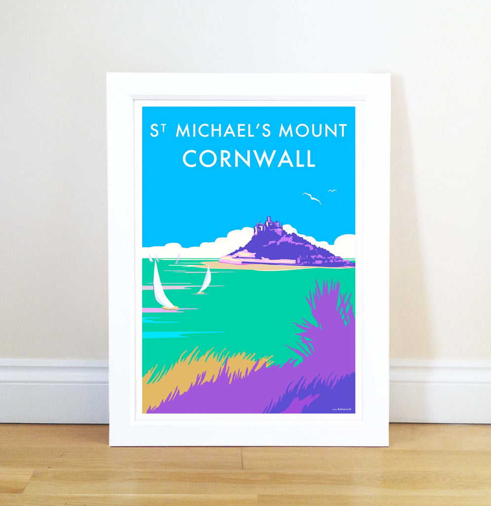 St Michaels Mount travel poster and seaside print by Becky Bettesworth - BeckyBettesworth - 1