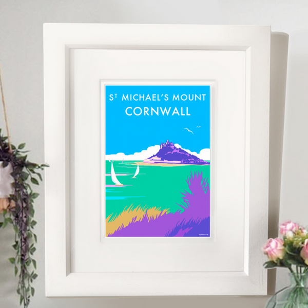 St Michaels Mount travel poster and seaside print by Becky Bettesworth