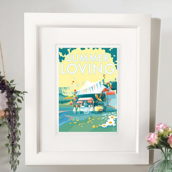 Summer Loving vintage style retro quote poster by Becky Bettesworth