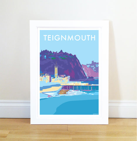 Teignmouth travel poster and seaside print by Becky Bettesworth