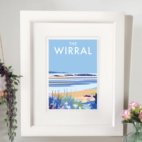 The Wirral travel poster and seaside print by Becky Bettesworth