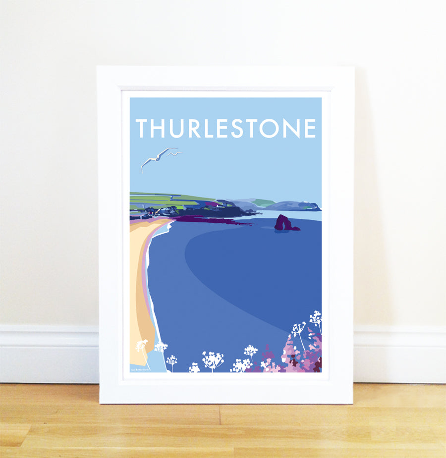 Thurlestone travel poster and seaside print by Becky Bettesworth - BeckyBettesworth - 1