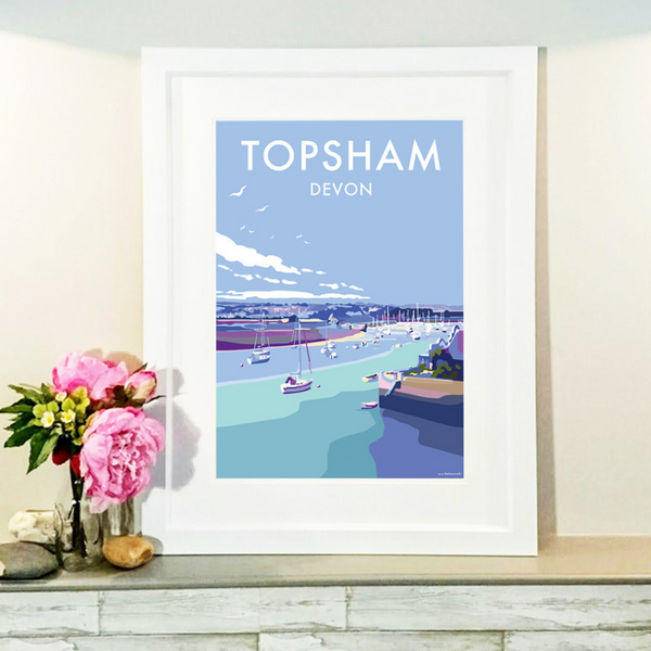 Topsham travel poster and seaside print by Becky Bettesworth