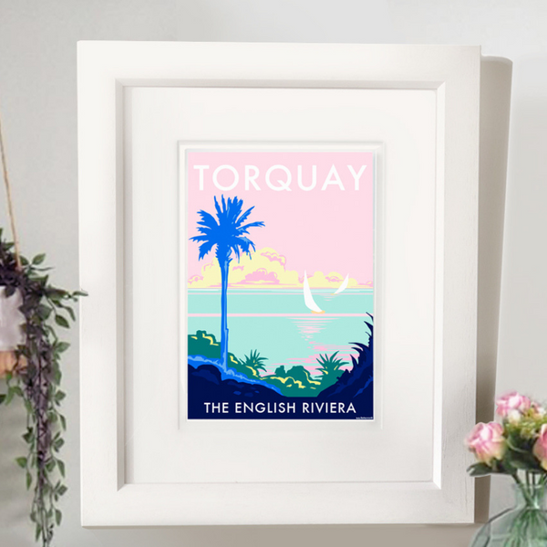 Torquay Palm travel poster and seaside print by Becky Bettesworth