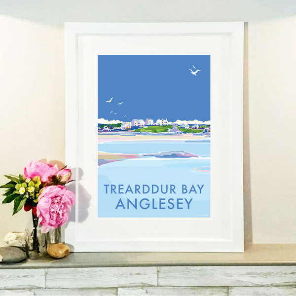 Trearddur Bay travel poster and seaside print by Becky Bettesworth