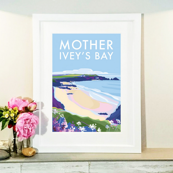 Mother Ivey's Bay travel poster and seaside print by Becky Bettesworth