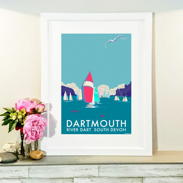 Dartmouth travel poster and seaside print by Becky Bettesworth