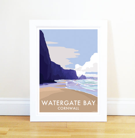Watergate Bay travel poster and seaside print by Becky Bettesworth - BeckyBettesworth - 1