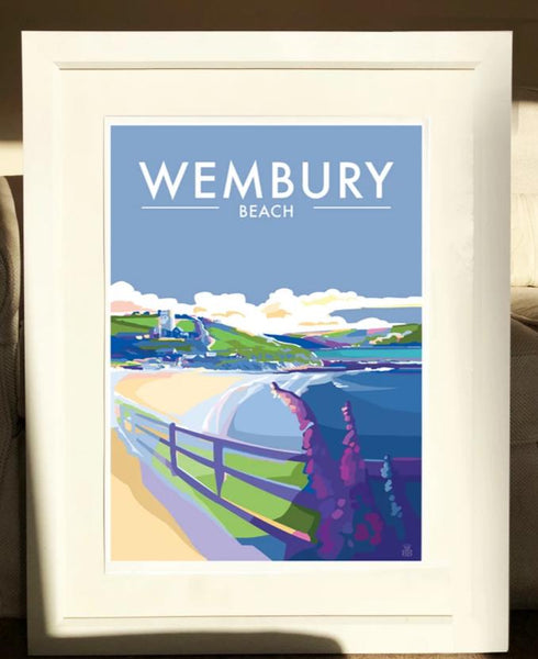 Wembury Beach travel poster and seaside print by Becky Bettesworth
