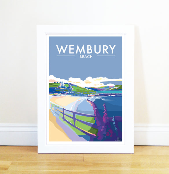 Wembury Beach - Limited Edition A2 travel poster and seaside print by Becky Bettesworth