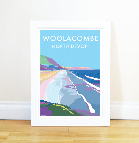 Woolacombe travel poster and seaside print by Becky Bettesworth