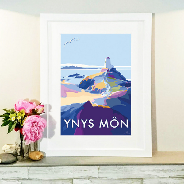 Ynys Mon travel poster and seaside print by Becky Bettesworth