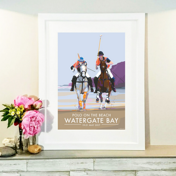Watergate Bay Polo on the Beach travel poster by Becky Bettesworth