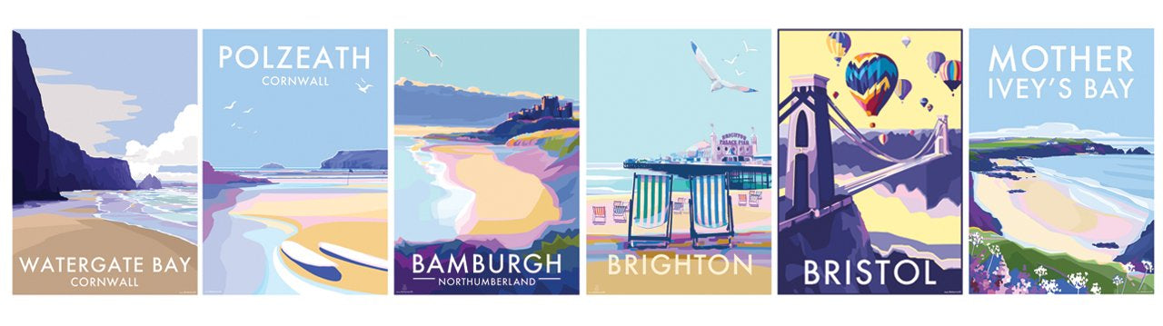 vintage style travel posters of Brixham, Sidmouth, South Hams, St Michaels Mount, Beer