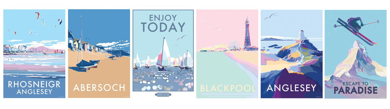 vintage style travel posters of Anglesey, Trearddur, Rhosenigr, Abersoch, Enjoy Today