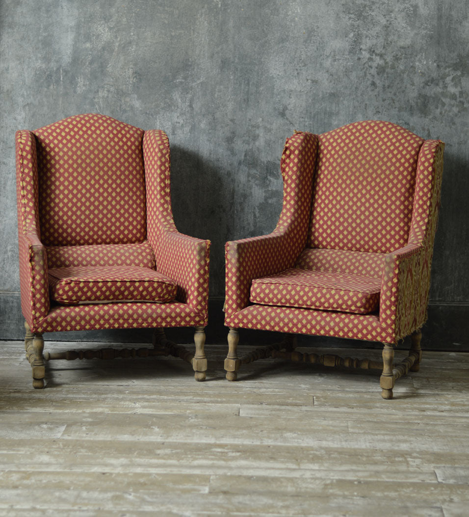 PAIR OF FRENCH WING CHAIRS