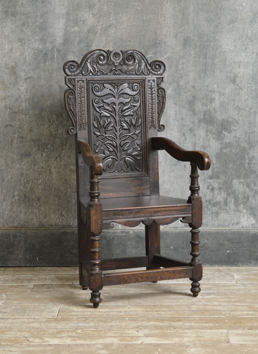 CHARLES 2ND STYLE OAK CHAIR